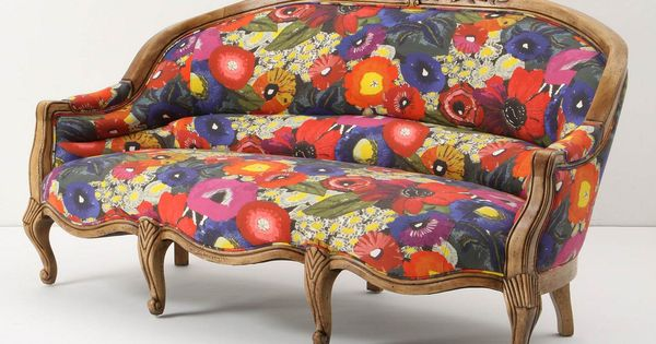 Amelie Sofa, Blazing Poppies. Walker finish. Eight-way hand-tied seat construction. Linen upholstery.