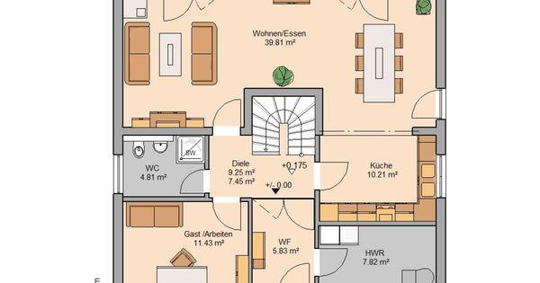 kern haus familienhaus magnum grundriss erdgeschoss. Black Bedroom Furniture Sets. Home Design Ideas