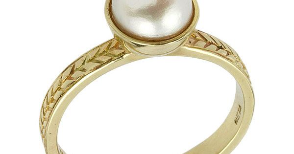 14k Gold Elegant Vintage Style Pearl Engagement Ring by netawolpe