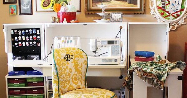 Bright and eclectic sewing and craft room sewing desk for Eclectic crafts room