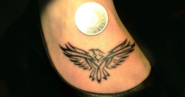 Small eagle incendiary tattoos on foot tattoooooos for Small eagle tattoo