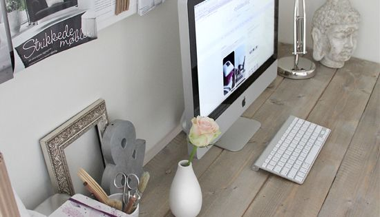natural wood desk home office work space