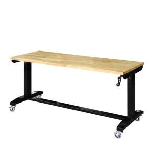Husky 62 In Adjustable Height Work Bench Table Holt62xdb12 The Home Depot Adjustable Height Work Table Adjustable Height Workbench Work Table