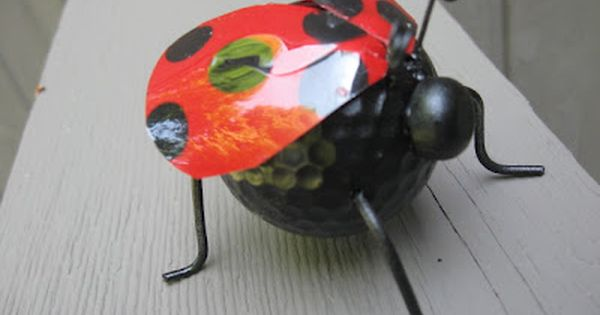 shower favor, ladybug, ladybug craft, recycling craft, golf ball craft, nature craft,