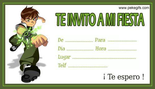 Invitaciones Fiesta Niños Ben 10 Fiesta Ben 10 Ben 10