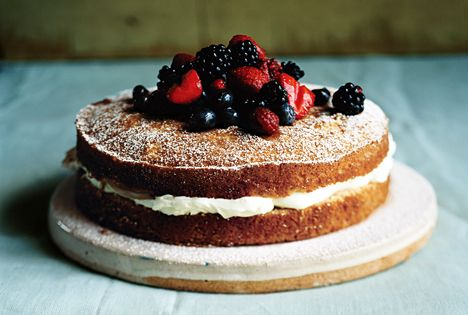 ▲ mascarpone filled cake w/ sherried berries