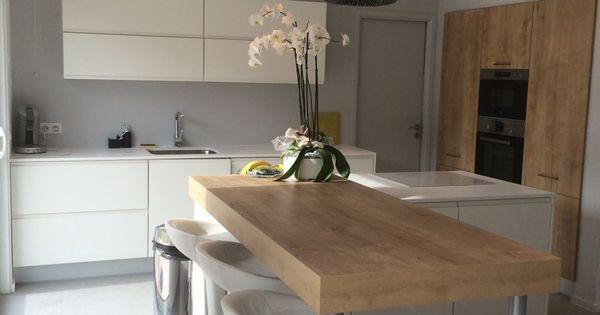 10 idées de cuisines aux meubles laqués blancs et bois | Kitchen ...