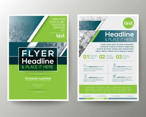 Green And Blue Geometric Poster Brochure Flyer Design Layout Vector Template Flyer Design Layout Flyer Design Templates Flyer Design