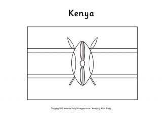 Kenya Flag Coloring Pages Kenya Flag Africa Flag