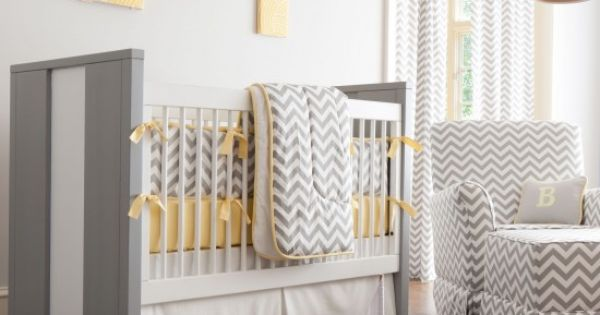 Gray and Yellow Chevron Crib Bedding - traditional - kids - atlanta