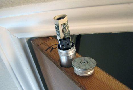 Secret door stash- always a good idea. unless the house burns down...