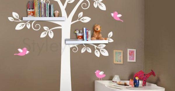 children shelf tree with birds Vinyl Wall Decal owls leaf leaves owl