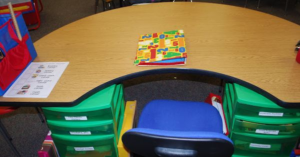 Drawers under guided reading table....GREAT idea! Label the drawers with the names
