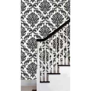 Nuwallpaper Ariel Black And White Damask Vinyl Strippable Wallpaper Covers 30 75 Sq Ft Nu1646 The Home Depot Peel And Stick Wallpaper White Damask Bathroom Wallpaper Black And White