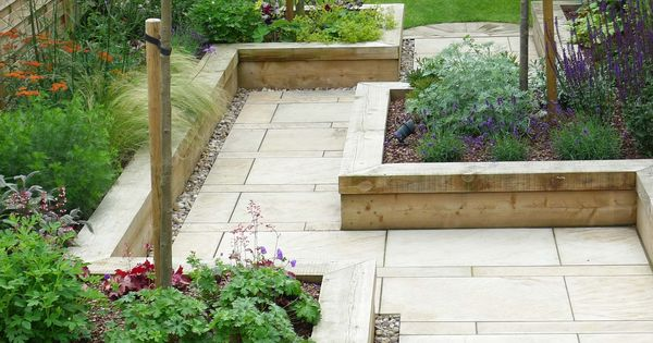 raised bedding walkway in backyard   but gravel and mosaics instead of tile   and of course wood