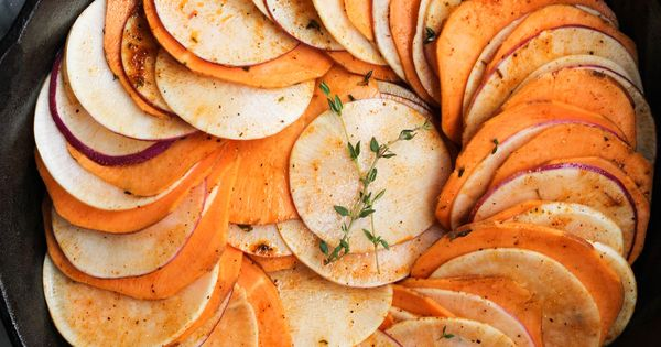 Herb Roasted Sweet Potato and Turnip Skillet | Food and ...