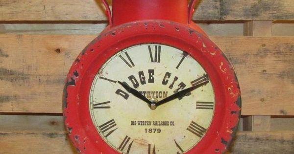 big red railroad lantern clockdodge cityfor desktableshelffireplace mantel table shelves