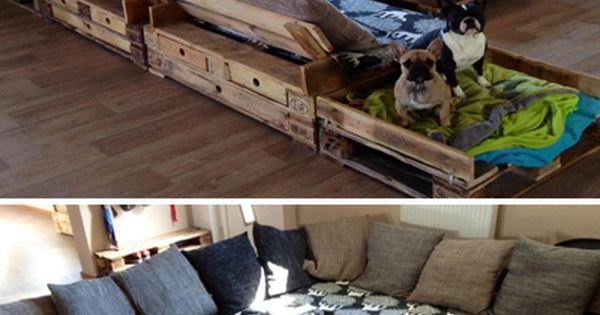 Eine riesen sofa ecke aus aufbereiteten europaletten for Riesen couch