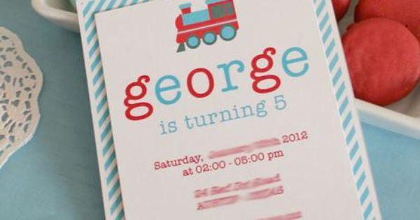 printable train birthday invitation Little Mr's nursery colors