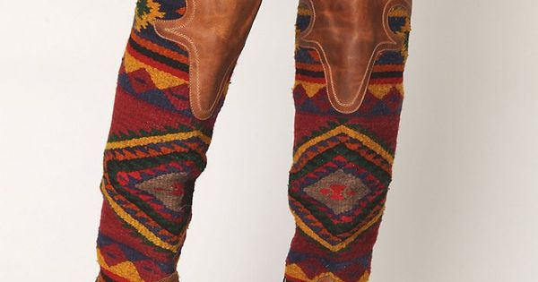 Tribal pattern knee high cowboy boots