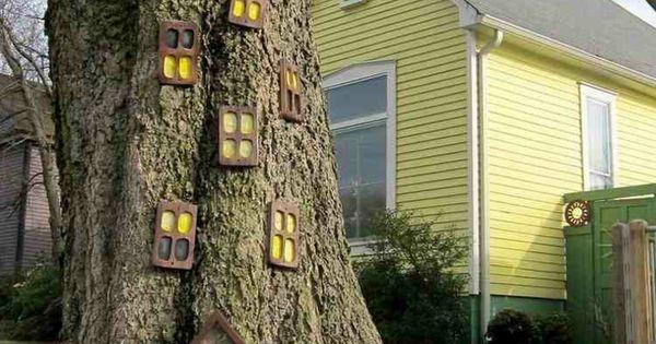 Rbol de jard n decorado casita pinterest rboles de - Arboles decorativos jardin ...