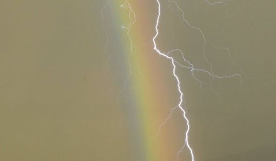 Rainbow and lightning I feel sorry for the guy going for the