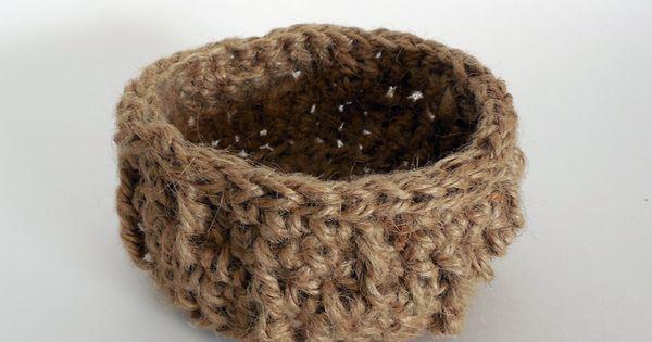 Handmade Jute Baskets : Handmade basket natural jute storage bin crochet