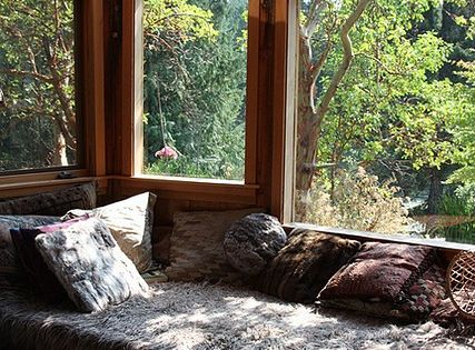 bed, nook, sun room, reading, relax, bedroom, home, boho