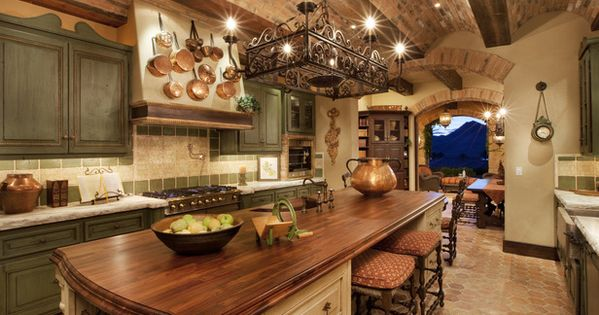 Tuscan kitchen .This European kitchen style is part Mediterranean and part country,