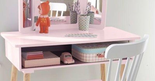 coiffeuse fille 3 miroirs th me paradis fleuri violet. Black Bedroom Furniture Sets. Home Design Ideas