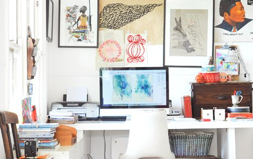 creative workspace, desk, studio, home, interior, old suitcases, storage, inspiration wall