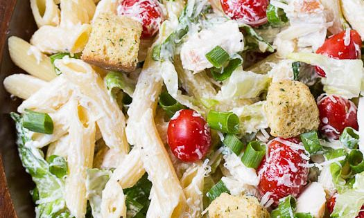 Chicken Caesar Pasta Salad with an easy and creamy homemade Caesar dressing. Great as a side dish or light summer meal. vegetarian recipe veggie healthy recipes