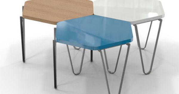 Hexagon Wood Modern Geometric Table Matte Black Geometric Table