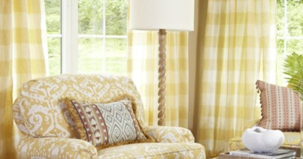 Fan Pleated Draperies And Kirsch Woven Shades From The Orange Zest Fabric Collection Gingham