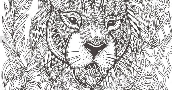 Handdrawn tiger with ethnic floral