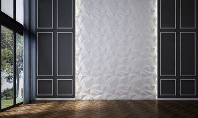 3d Rendering Interiors Design Of Minimal Empty Room And Pattern