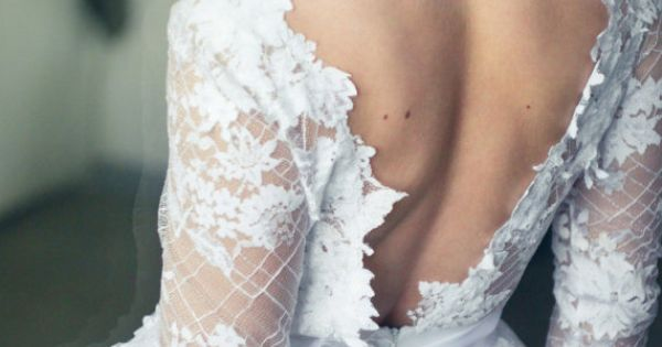 In love with this low back, lace sleeve, tulle skirted Etsy wedding