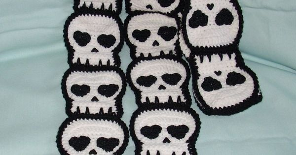 Crocheted Skull SCARF Made To Order | Patterns, Crochet ...