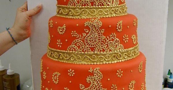 wedding ideas in gold | Orange and Gold Indian Wedding Cake
