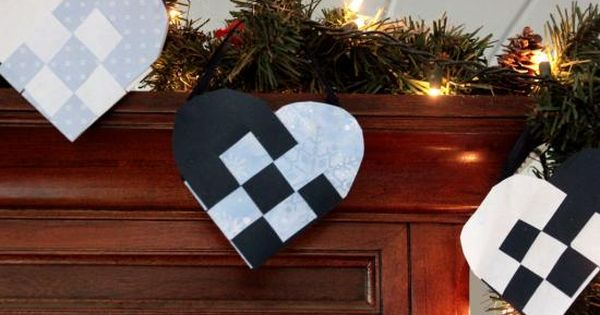 Woven Heart Basket Craft : Woven paper heart baskets christmas hearts are made