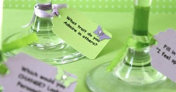 Conversation starter wine glass tags