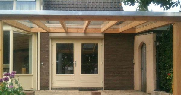 4 houten veranda aan huis met hellend polycarbonaat of glazen dak zelfbouw bouwpakket van - Glazen dak dak glijdende ...