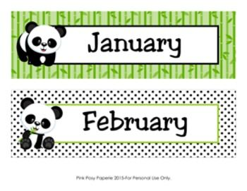 Panda Bear Classroom Decor Monthly Calendar Headers Classroom Decor Classroom Themes Classroom