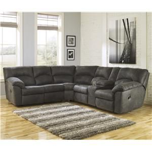 Signature Design By Ashley Tambo Pewter 2 Piece Reclining Corner Sectional Sectional Sofa With Recliner Fabric Sectional Sofas Reclining Sectional