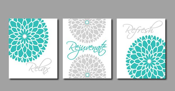 Floral Flower Flourish Wall Art  Bathroom Decor  Bathroom Art  Relax  Rejuvenate Refresh  Turquoise Gray Bathroom Set of 3 Prints Or Canvas. Home Decor CANVAS or PRINTS  Home Decor Wall Art  Aqua and Gray