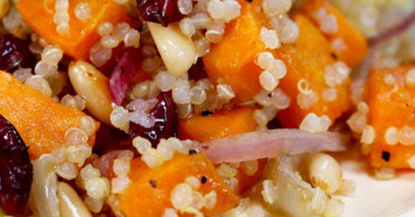 Roasted sweet potatoes, Dried cranberries and Quinoa salad on ...