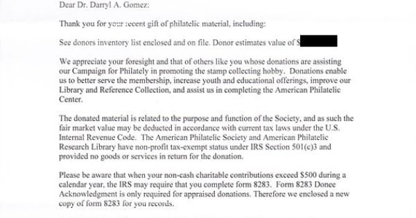 I said I made a philatelic donation, not a prophylactic donation - inventory list form