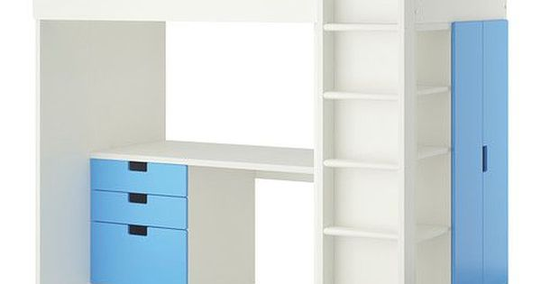 stuva combi lit mezz 3 tir 2 ptes blanc bleu armoires euro et mezzanine. Black Bedroom Furniture Sets. Home Design Ideas