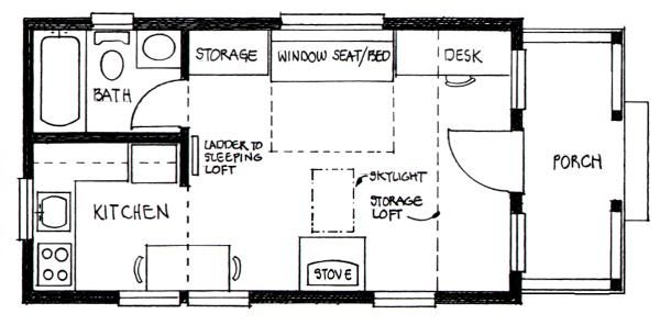 Builder S Cottage Floor Plan 14 Wide 24 Long W 7 6 X 13 Sleeping Loft 3 6 Storage L Tiny House Floor Plans Loft Floor Plans Small House Floor Plans