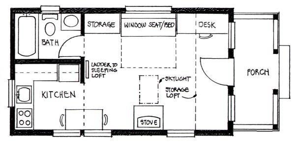 Builder S Cottage Floor Plan 14 Wide 24 Long W 7 6 X 13 Sleeping Loft 3 6 Storag Tiny House Floor Plans Loft Floor Plans Tiny House Interior Design
